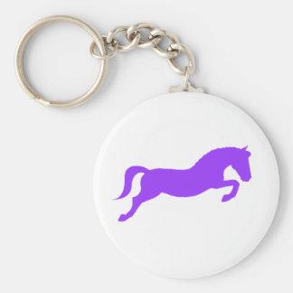 Purple Jumping Pony Basic Round Button Keychain