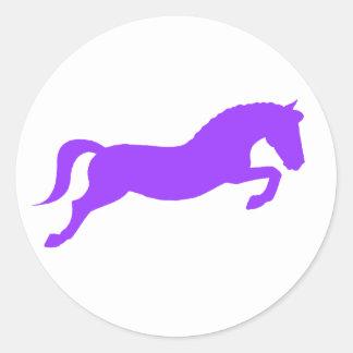 Purple Jumping Pony Classic Round Sticker
