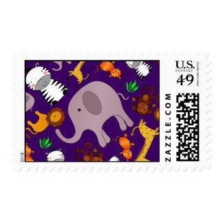 Purple jungle safari animals postage
