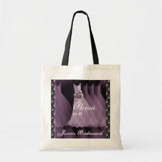 PURPLE Junior Bridesmaid Cotton Tote Bag