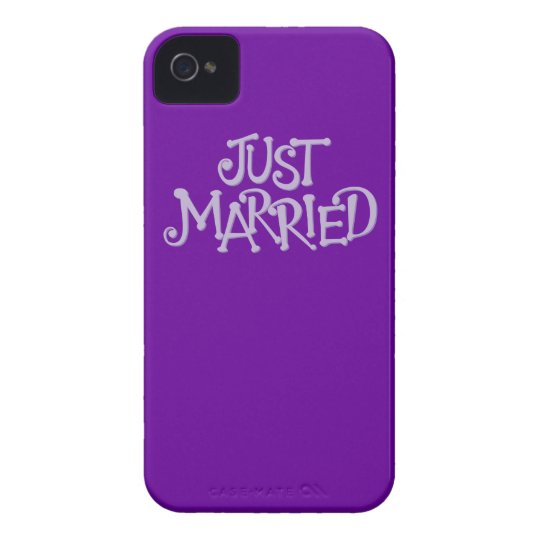 Purple Just Married iPhone 4 Case