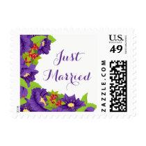 Purple Just Married Purple Flowers Wedding Postage