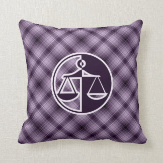 Purple Justice Scales Throw Pillows