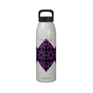 Purple Kaleidoscope Design Diamond Custom Name Reusable Water Bottle