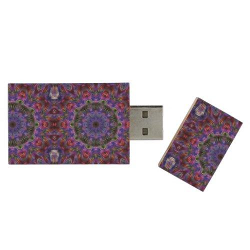 Purple Kaleidoscope Wood Flash Drive