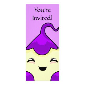 "Purple Kawaii Tickle Monster 4"" X 9.25"" Invitation Card"