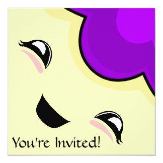 "Purple Kawaii Tickle Monster 5.25"" Square Invitation Card"