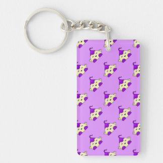 Purple Kawaii Tickle Monster Rectangular Acrylic Keychains