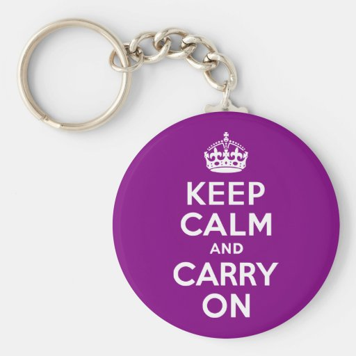 Purple Keep Calm and Carry On Basic Round Button Keychain