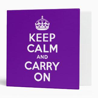 Purple Keep Calm and Carry On Binder