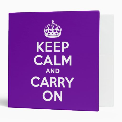 Purple Keep Calm and Carry On Binder