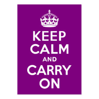 Purple Keep Calm and Carry On Business Cards