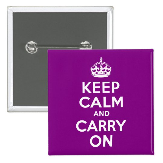 Purple Keep Calm and Carry On Button