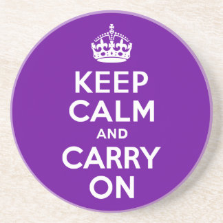 Purple Keep Calm and Carry On Beverage Coaster