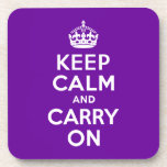 Purple Keep Calm and Carry On Drink Coasters