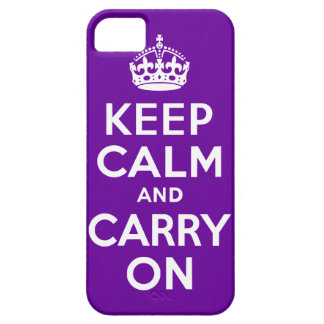 Purple Keep Calm and Carry On iPhone SE/5/5s Case