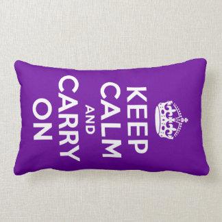 Purple Keep Calm and Carry On Lumbar Pillow