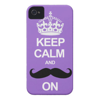 Purple Keep Calm and Carry On Mustache iPhone Case