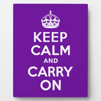 Purple Keep Calm and Carry On Plaque