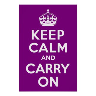 Purple Keep Calm and Carry On Poster