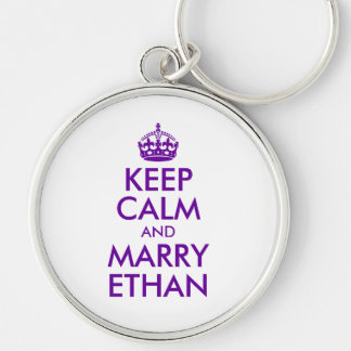 Purple Keep Calm and Marry Ethan Keychain