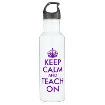 Purple Keep Calm and Teach On Water Bottle