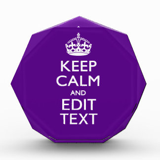 Purple Keep Calm And Your Text Easily Award