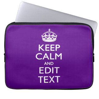 Purple Keep Calm And Your Text Easily Laptop Computer Sleeve