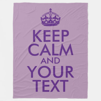 Purple Keep Calm and Your Text Fleece Blanket