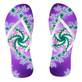 Purple Kelly Green Swirl Spiral Fractal Flip Flops