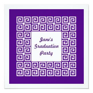 Purple Key Pattern Grad Party Invitation