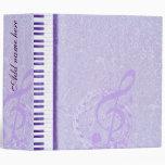 Purple keys & notes_Binder 3 Ring Binder
