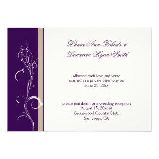 Purple Khaki Ivory Floral Swirl Post Wedding Custom Invitation
