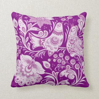 Purple Khokhloma Pillow