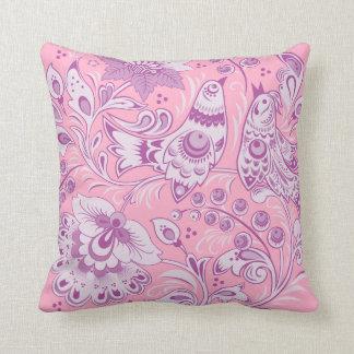 Purple Khokhloma Throw Pillow