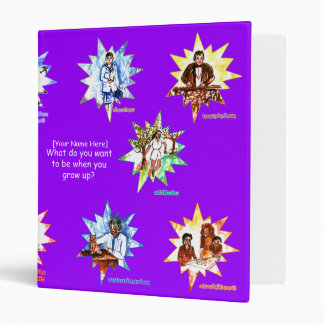 Purple kids binder with Professionals as Cartoons