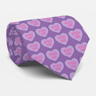 Purple Kiss Me Candy Heart Hearts Valentine's Tie