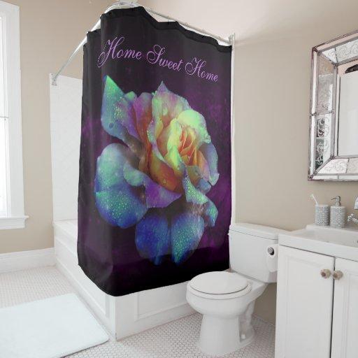Purple Kissed Turquoise Rose Shower Curtain Zazzle