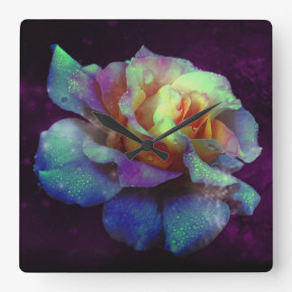 Purple Kissed Turquoise Rose Wall Clock