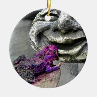 Purple Kissing Toad Ceramic Ornament