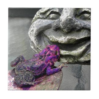 Purple Kissing Toad Ceramic Tile