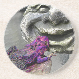 Purple Kissing Toad Drink Coaster
