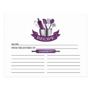 purple kitchen tools bridal shower recipe cards