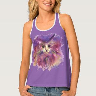 PURPLE KITTEN,CUTE KITTY CAT PORTRAIT TANK TOP