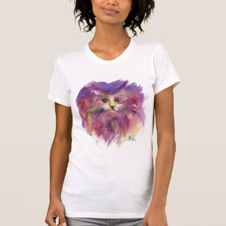 PURPLE KITTEN,CUTE KITTY CAT PORTRAIT TEE SHIRT