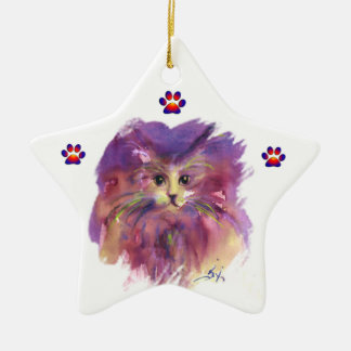 PURPLE KITTEN,KITTY CAT PORTRAIT,Colorful Paws Ceramic Ornament