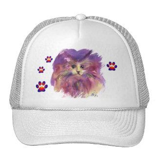 PURPLE KITTEN ,KITTY CAT PORTRAIT,COLORFUL PAWS TRUCKER HAT