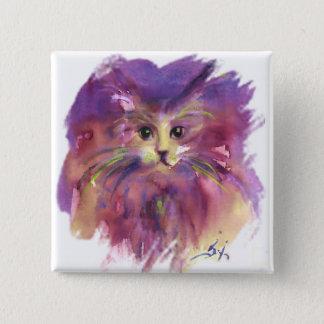 PURPLE KITTEN ,KITTY CAT PORTRAIT PINBACK BUTTON