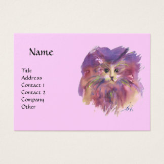 PURPLE KITTEN,KITTY CAT PORTRAIT ,pink violet Business Card