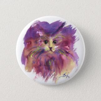 PURPLE KITTEN ,KITTY CAT PORTRAIT,White Button